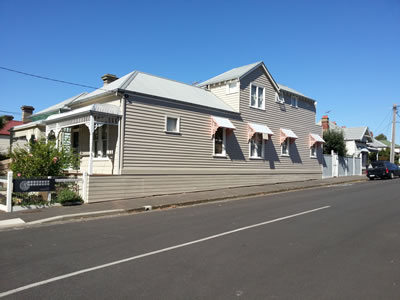 A painted weatherboard house
